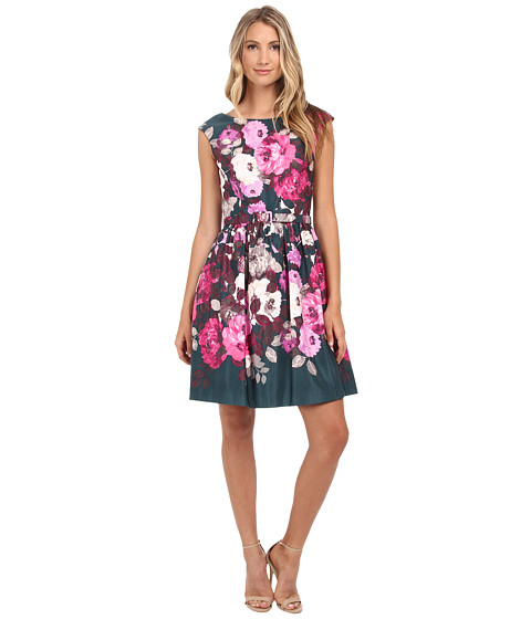 Eliza J - Cap Sleeve Fit and Flare with Self Belt (Print) Women