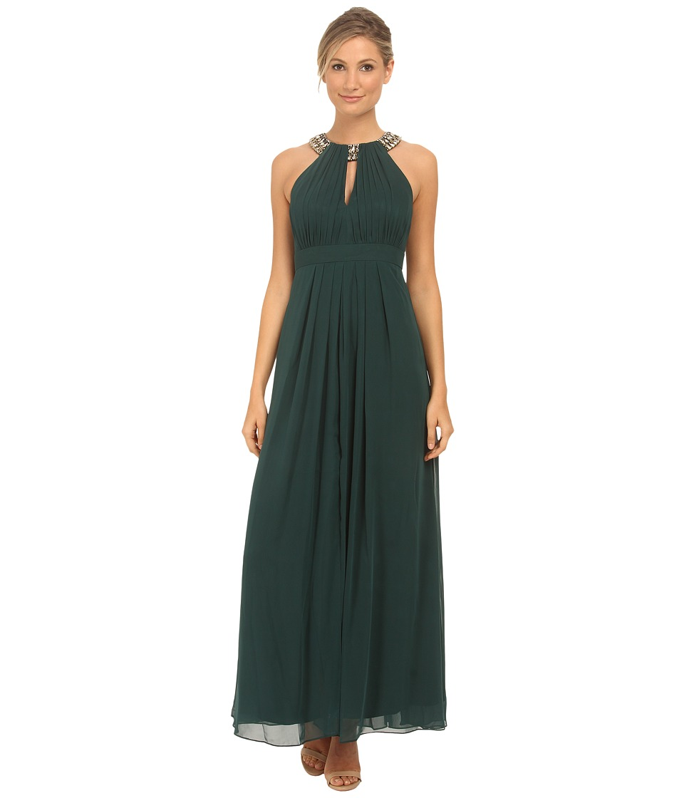 Eliza J - Beaded Neck Band Chiffon Dress (Green) Women's Dress