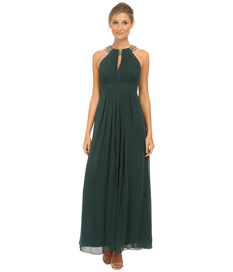 Eliza J - Beaded Neck Band Chiffon Dress (Green) Women