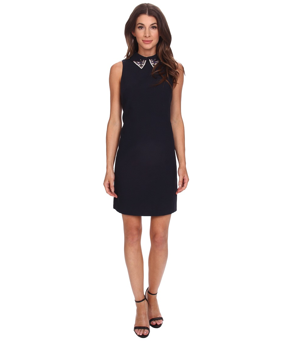 Eliza J - Sleevless Shift with Beaded Peter Pan Collar (Navy) Women's Dress