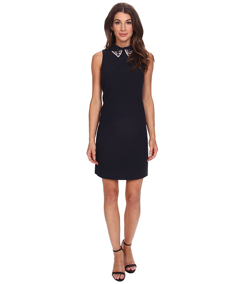 Eliza J - Sleevless Shift with Beaded Peter Pan Collar (Navy) Women