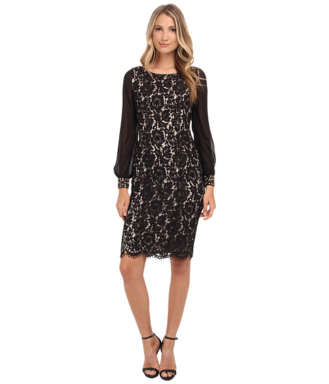 Eliza J - Lace Sheath Dress with Chiffon Bell Sleeves (Black) Women's Dress