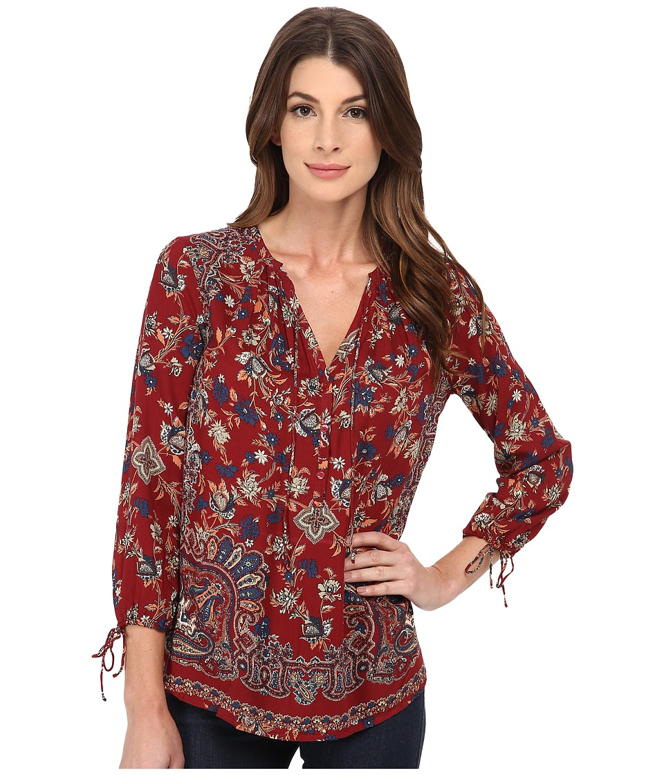 Lucky Brand - Floral Paisley Top (Red Multi) Women's Clothing