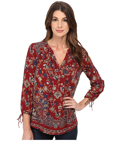 Lucky Brand - Floral Paisley Top (Red Multi) Women