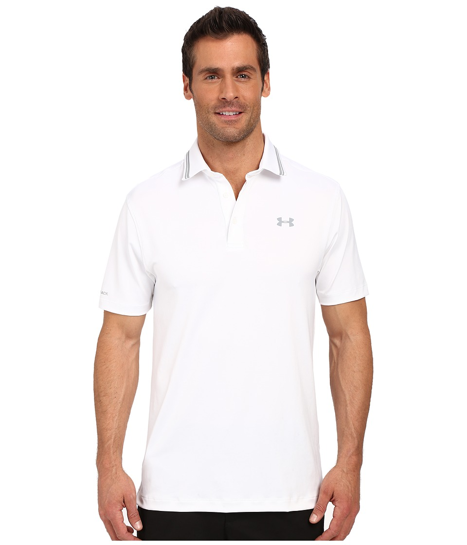 Under Armour Golf - Coldblack Address Polo (White/Steel/Steel) Men's Short Sleeve Pullover