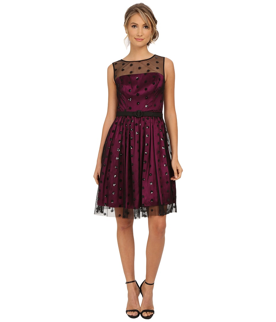 Eliza J - Sequin Dot Mesh Overlay Dress (Wine) Women