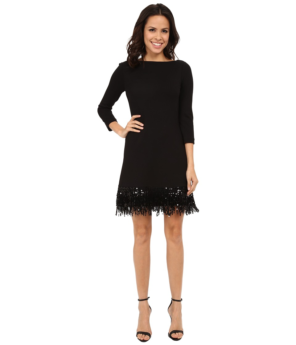 Eliza J - 3/4 Sleeve Shift with Sequin Fringe at Hem (Black) Women