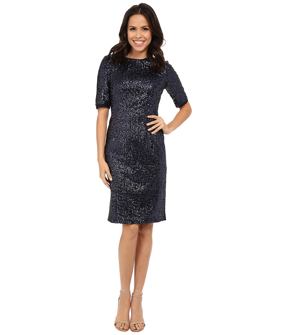 Eliza J 3-4 Sleeve Sheath Navy Dress
