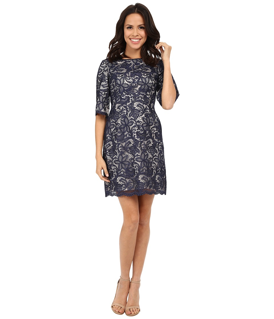 Eliza J - Wide Elbow Sleeve Fit and Flare (Navy) Women's Dress