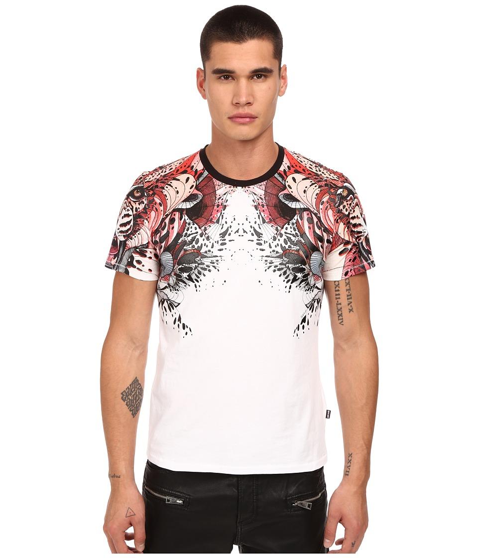 Just Cavalli - Leo Print Shoulder Crew Tee (White) Men's T Shirt