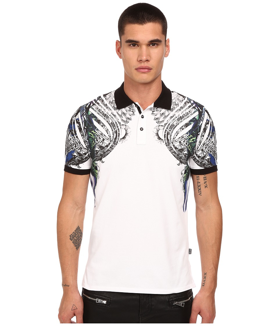 Just Cavalli - Modern Deco Print Polo (White) Men's Clothing