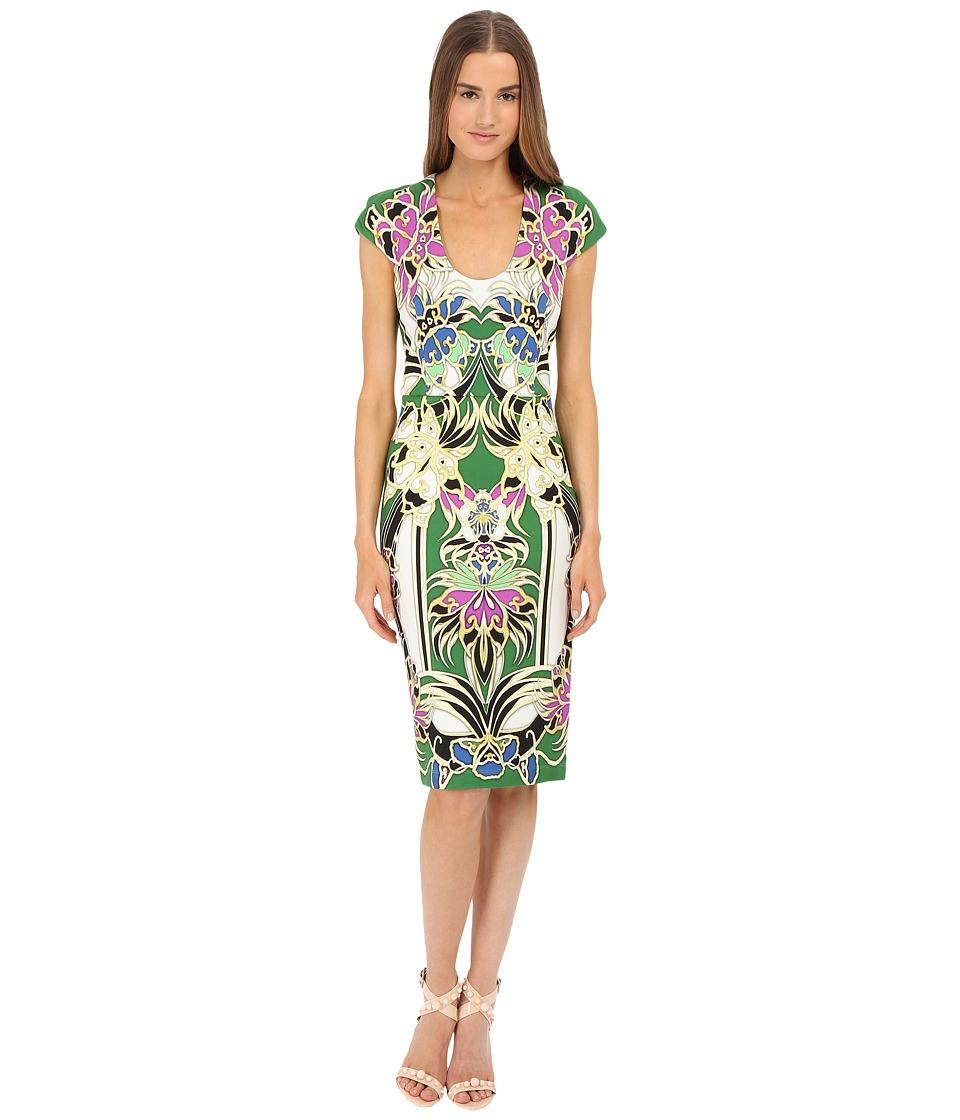 Just Cavalli - Masako Print Short Sleeve Scoop (Absinth) Women's Dress