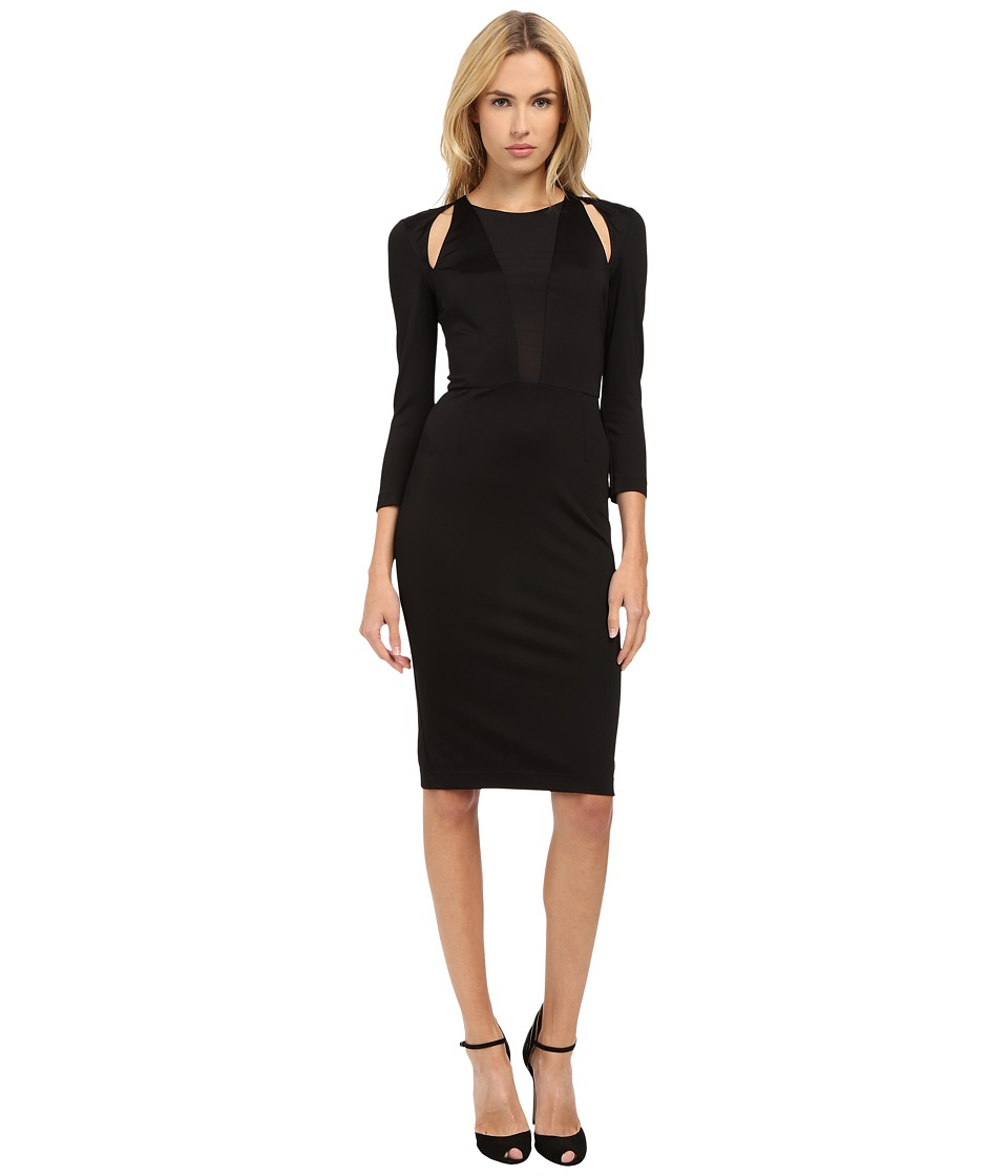 Just Cavalli - Solid Long Sleeve Jersey w/ Sheer Panel (Black) Women's Dress