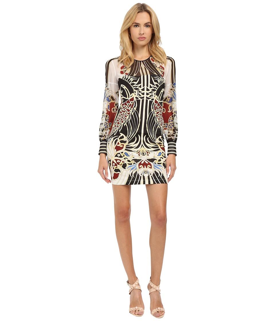 Just Cavalli - Keiko Print Chiffon/Jersey Placed (Off White) Women's Dress