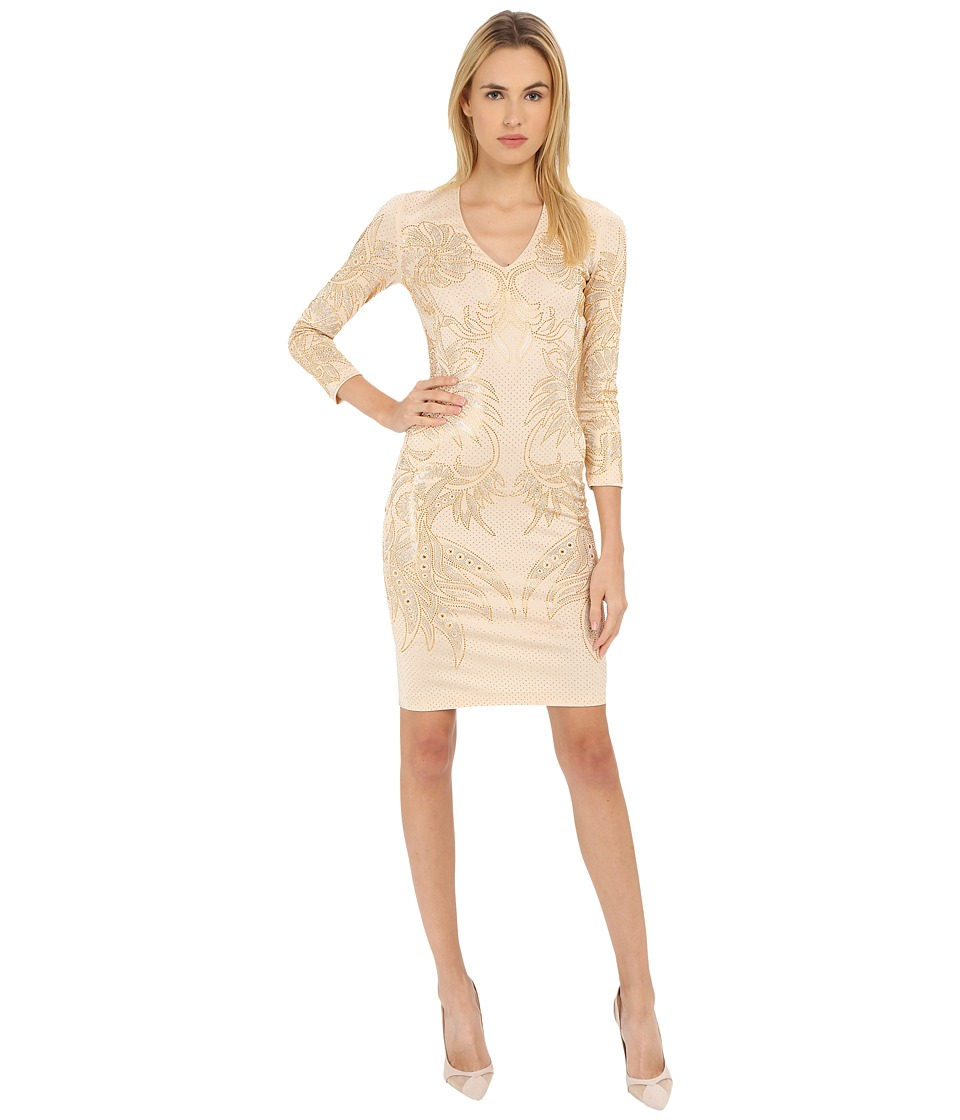 Just Cavalli - Studded Long Sleeve Jersey (Champagne) Women's Dress