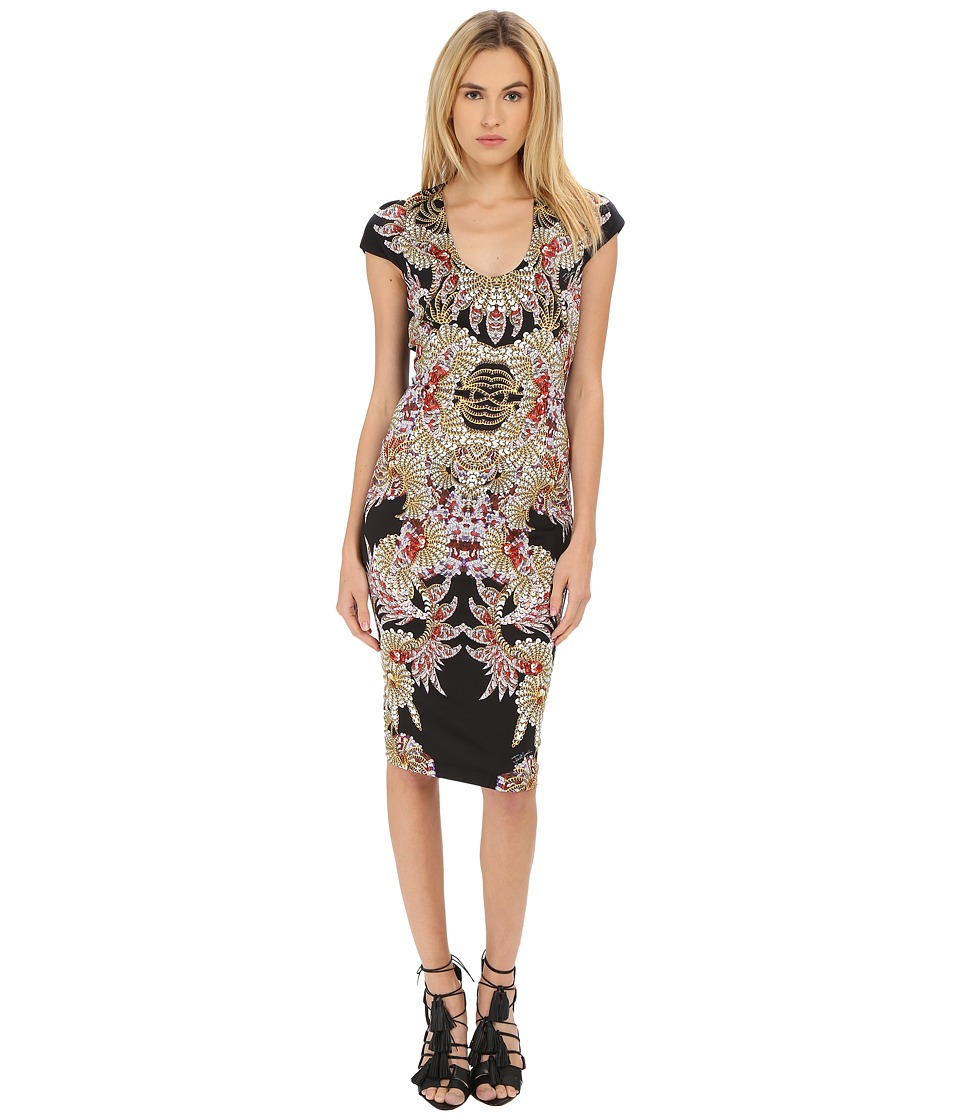 Just Cavalli - Fairy Mermaid Print Short Sleeve Scoop (Black) Women's Dress