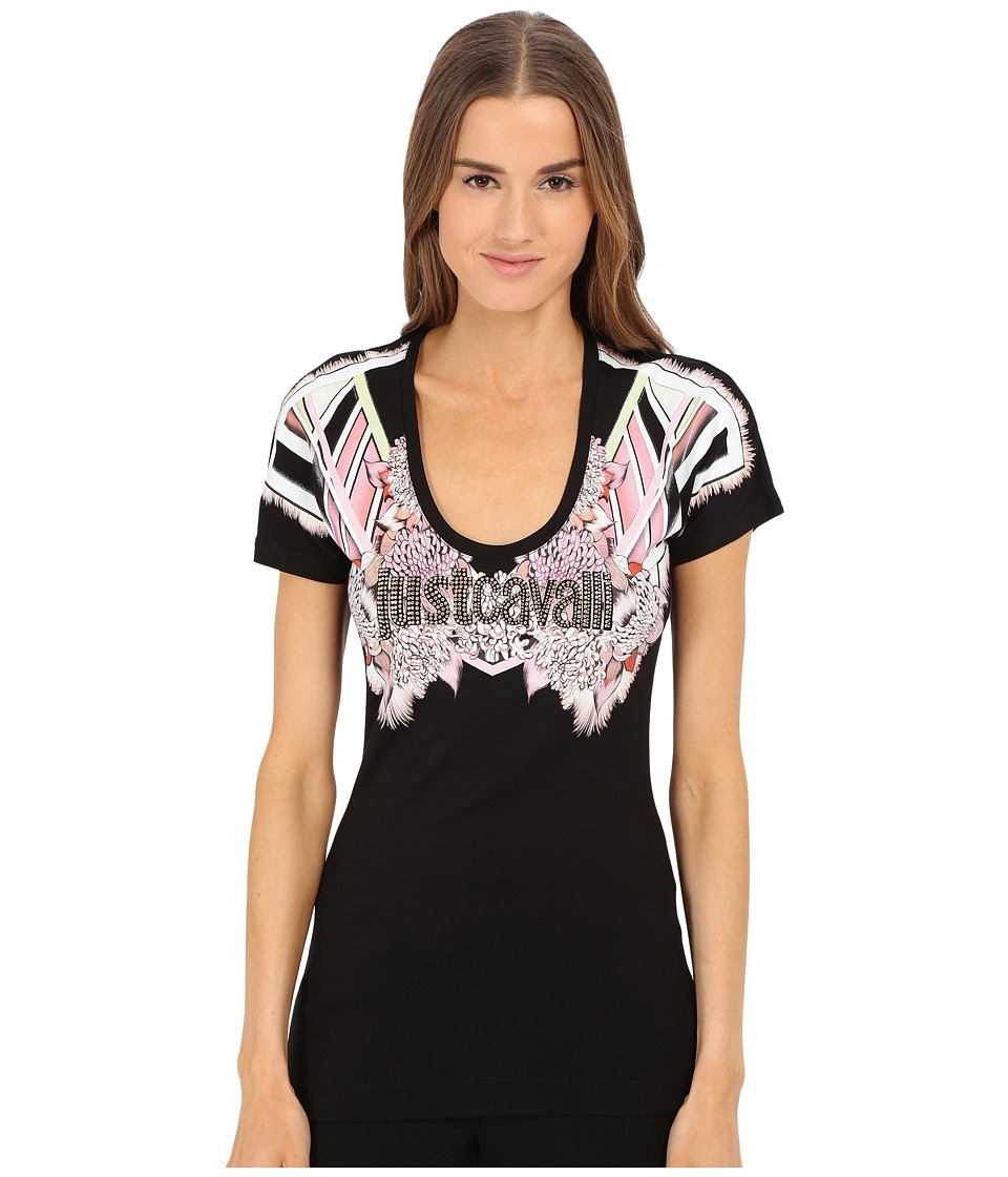Just Cavalli - Jc Studded Logo Tee (Black) Women's T Shirt