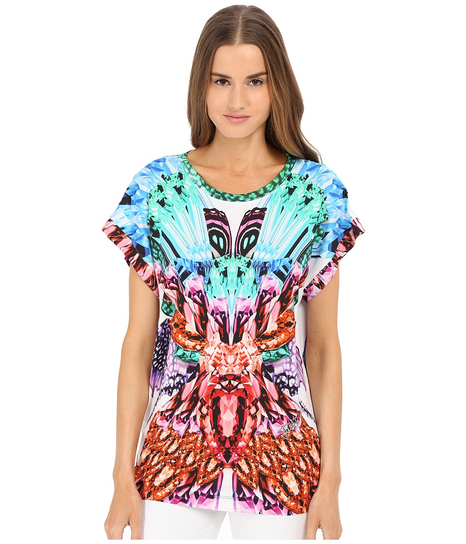 Just Cavalli - Leo Butterfly Boyfriend Tee (White) Women's T Shirt