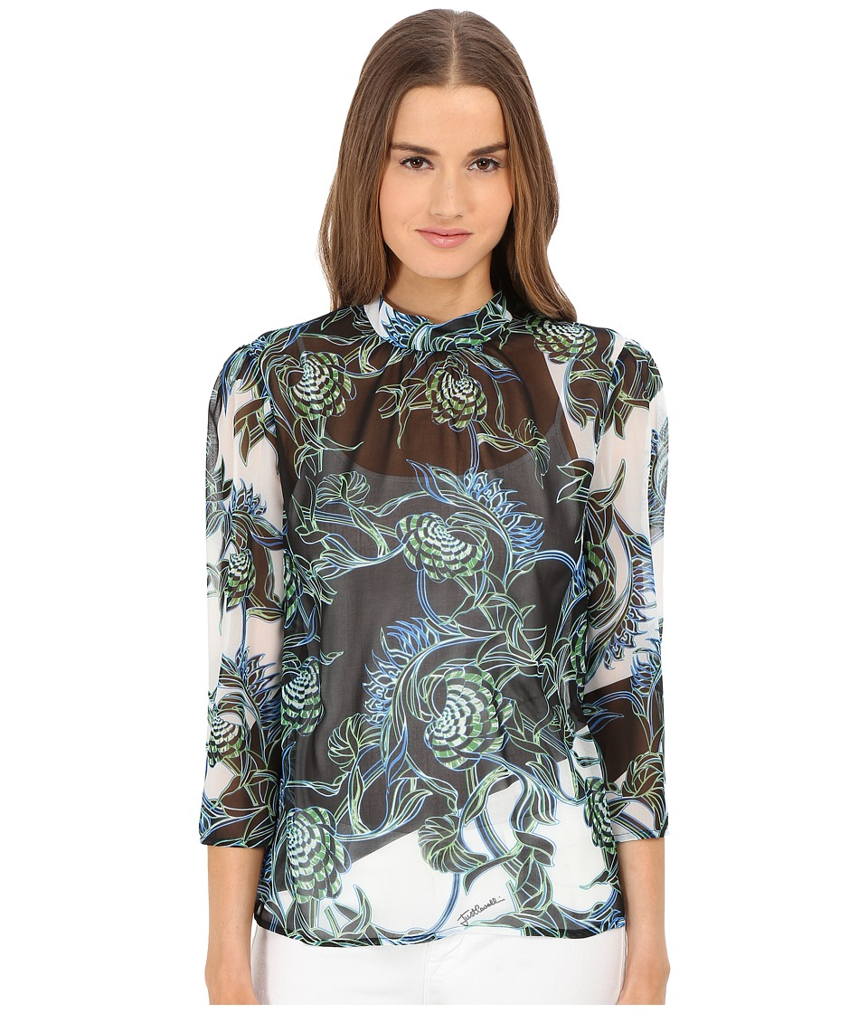 Just Cavalli - Ikebana Ray Chiffon High Collar Top (Absinth) Women's Blouse