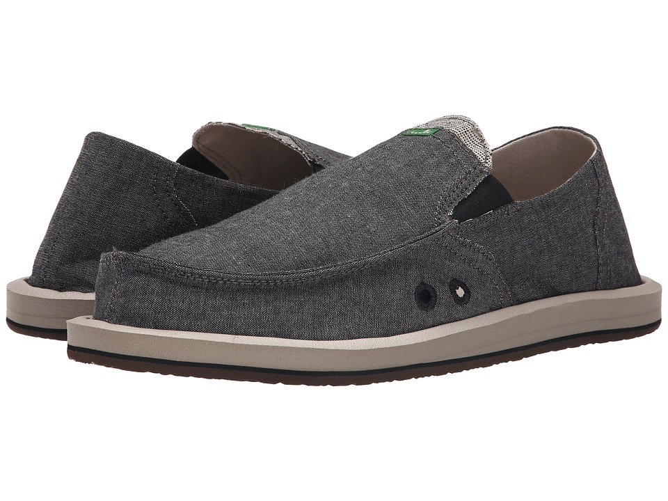 Sanuk - Pick Pocket TX (Black Chambray) Men's Slip on Shoes