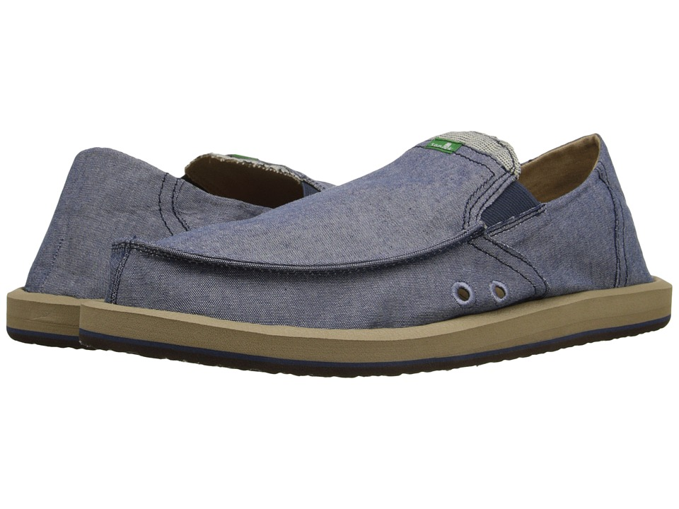 Sanuk - Pick Pocket TX (Blue Chambray) Men's Slip on Shoes