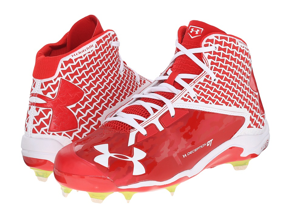 Under Armour - UA Deception Mid DT (Red/White) Men's Cleated Shoes