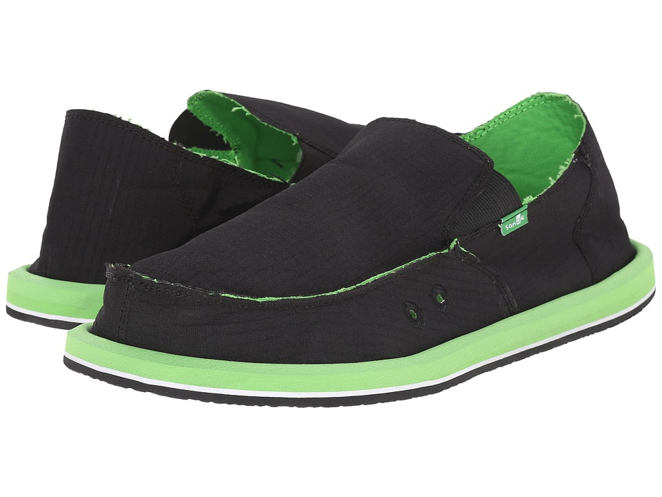 Sanuk - Vagabond Nights (Black/Lime) Men's Slip on Shoes