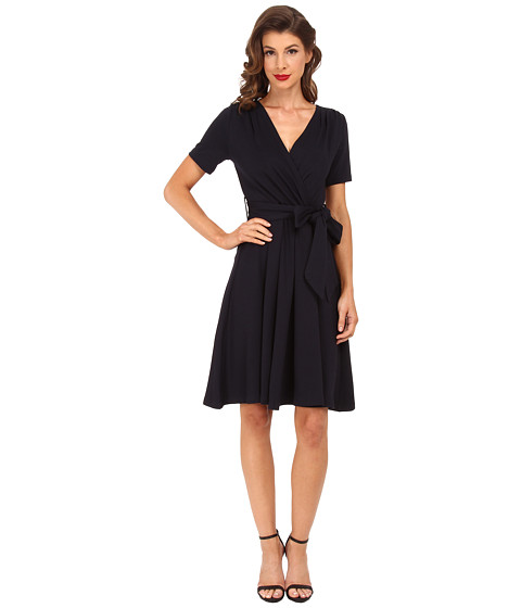 Unique Vintage - Diane Wrap Dress (Navy) Women's Dress