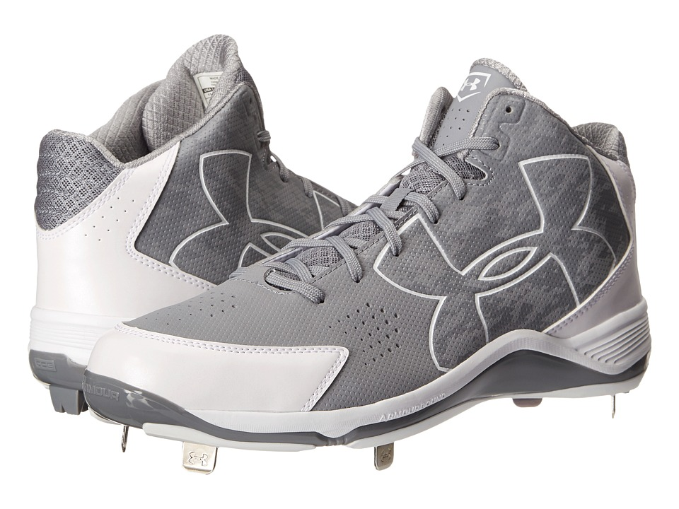 Under Armour - UA Ignite Mid ST CC (Baseball Gray/White) Men's Cleated Shoes