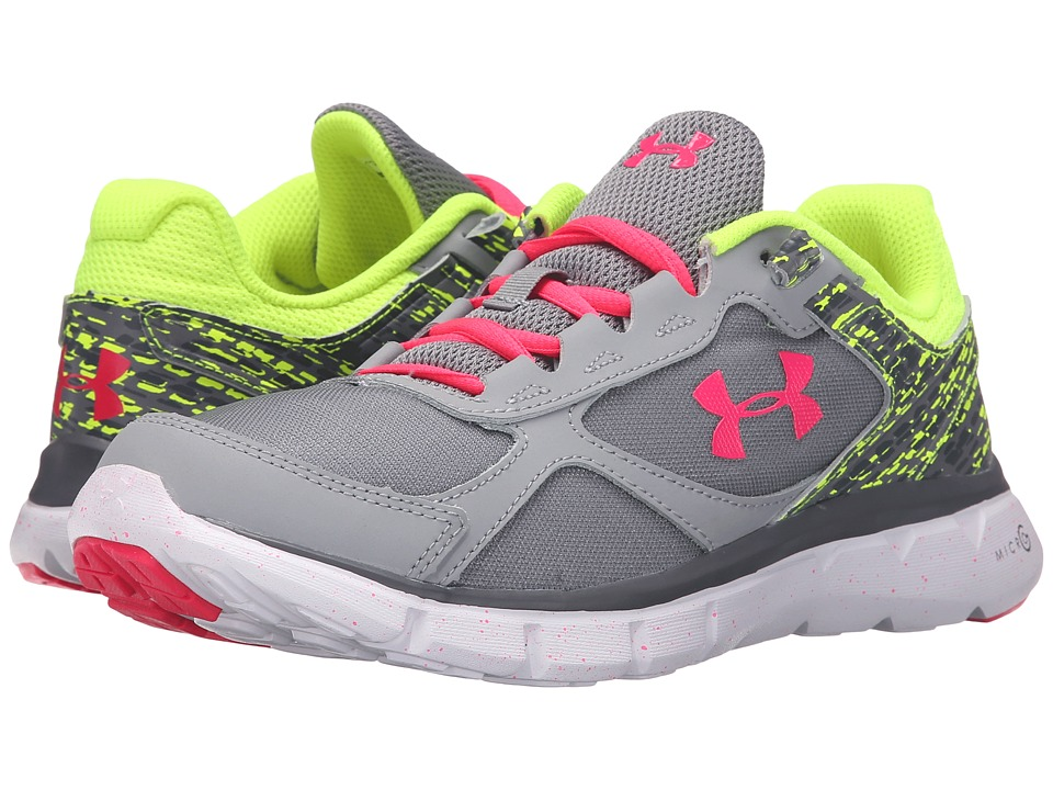 Under Armour Kids - UA GGS Micro Gtm Velocity RN GR (Big Kid) (Steel/High-Vis Yellow/Harmony Red) Girls Shoes