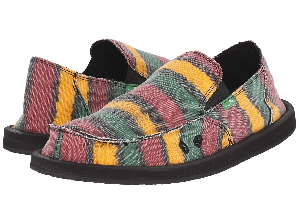 Sanuk - Donny (Rasta Watercolor Stripe) Men's Slip on Shoes