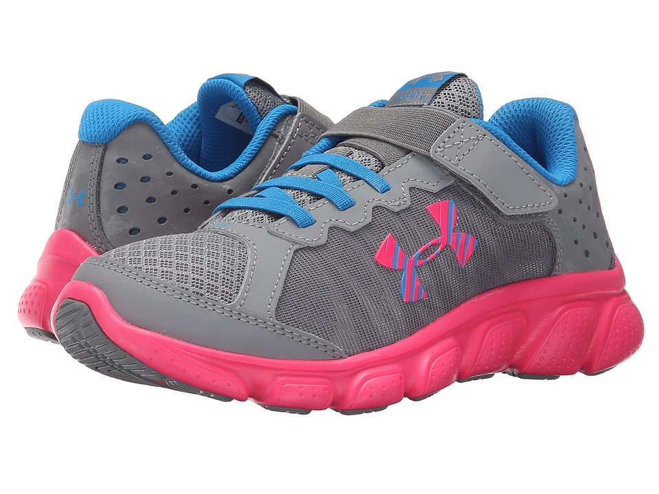 Under Armour Kids - UA GPS Assert 6 AC (Little Kid) (Steel/Harmony Red/Electric Blue) Girls Shoes