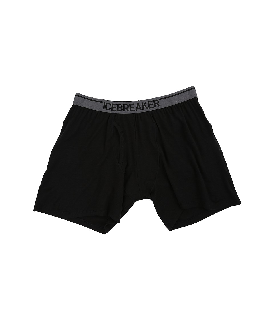 Icebreaker - Anatomica Relaxed Boxers w/ Fly (Black/Monsoon) Men's Underwear