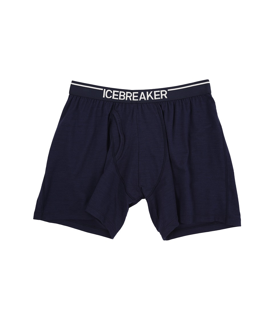 Icebreaker - Anatomica Relaxed Boxers w/ Fly (Admiral/White) Men's Underwear