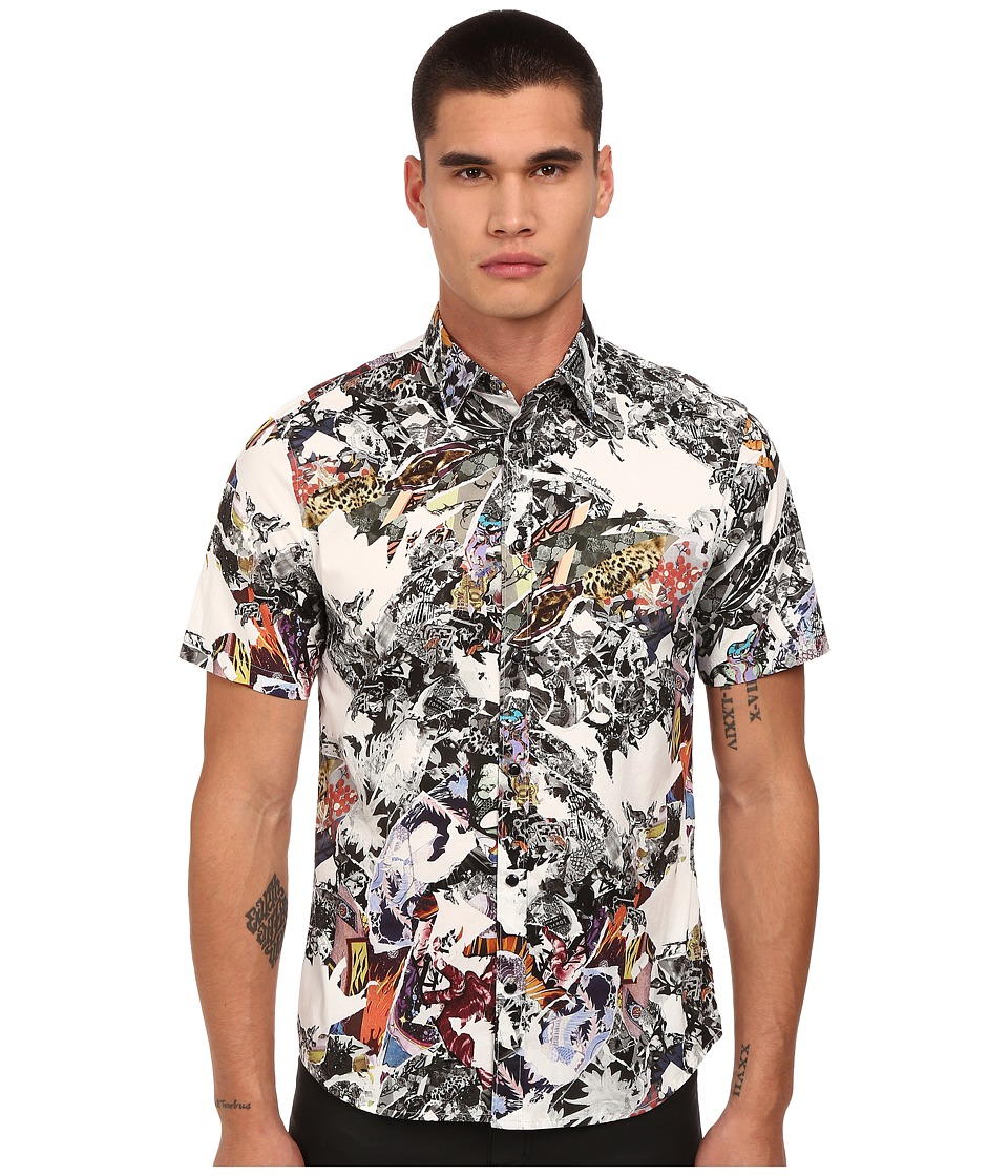 Just Cavalli - Short Sleeve Kami Art Printed Snap Woven (Off White) Men's Short Sleeve Button Up