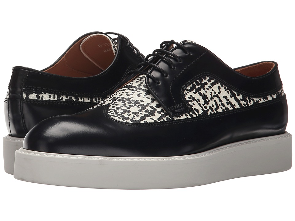 Paul Smith - Madlin Nero Ischia Brush/Etching (Black/White) Women's Lace Up Wing Tip Shoes
