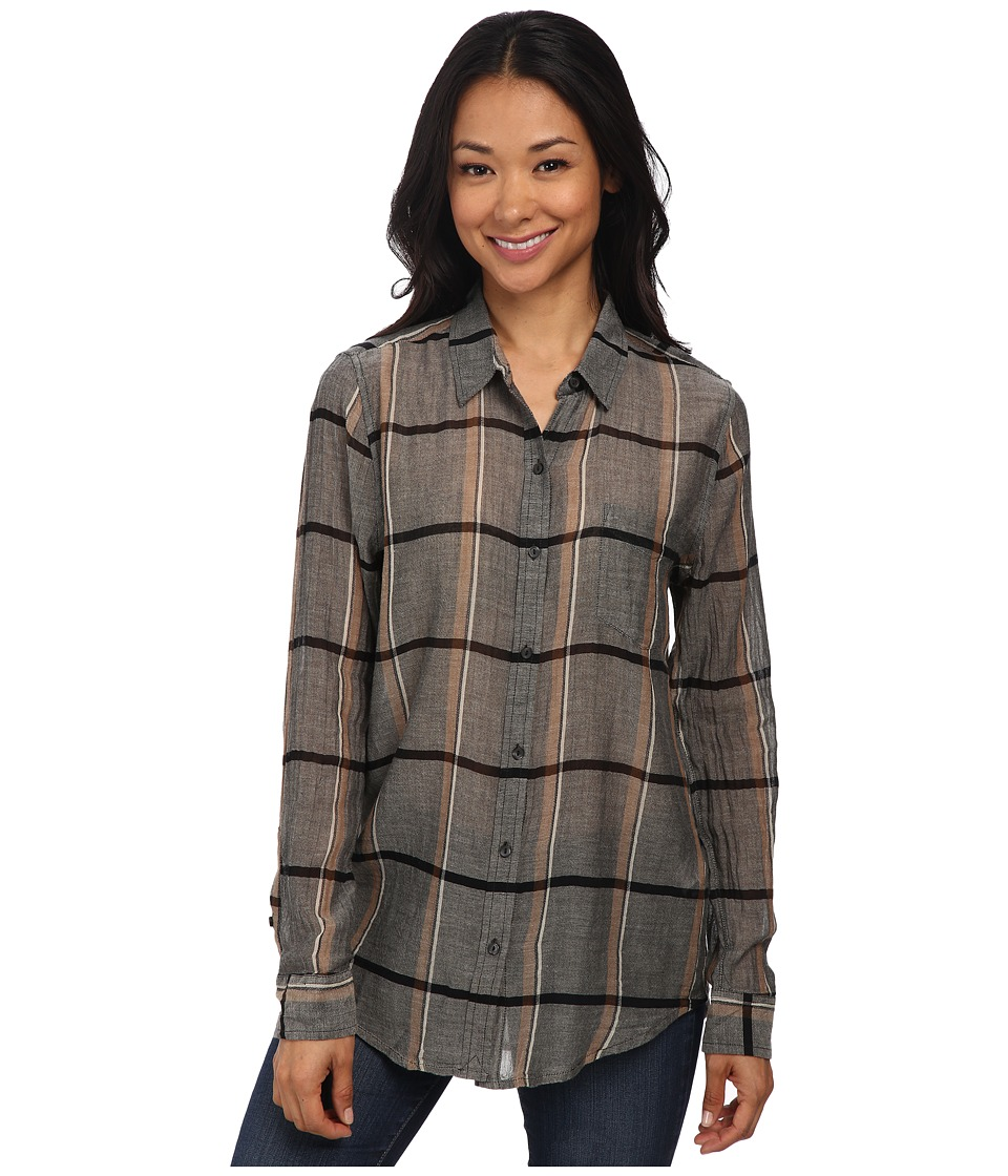 Lucky Brand - Long Sleeve Plaid Shirt (Grey Multi) Women's Clothing