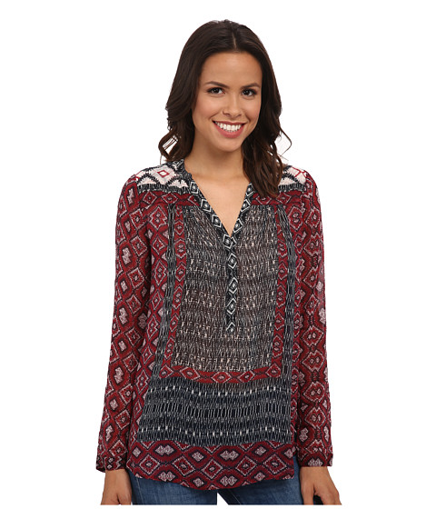 Lucky Brand - Mix Borderprinted Peasant (Red Multi) Women