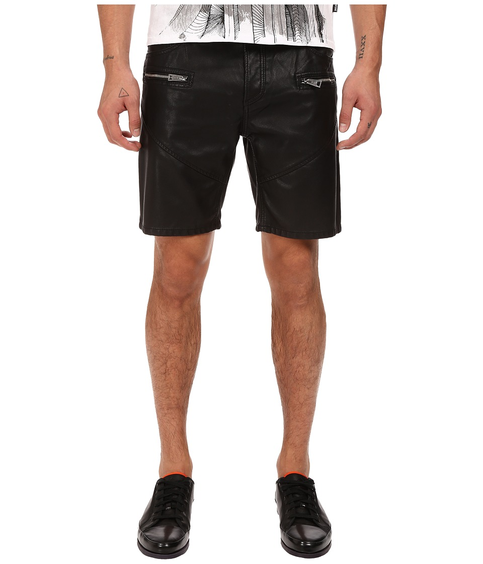 Just Cavalli - Coated Zipper Pocket Shorts (Black) Men's Shorts