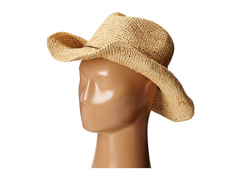 Hat Attack - Raffia Crochet Cowboy (Natural/Mixed Metal Beads) Traditional Hats