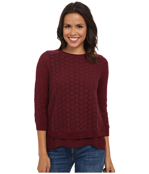 Lucky Brand - Mixed Media Pullover (Luxe Burgundy) Women's Clothing