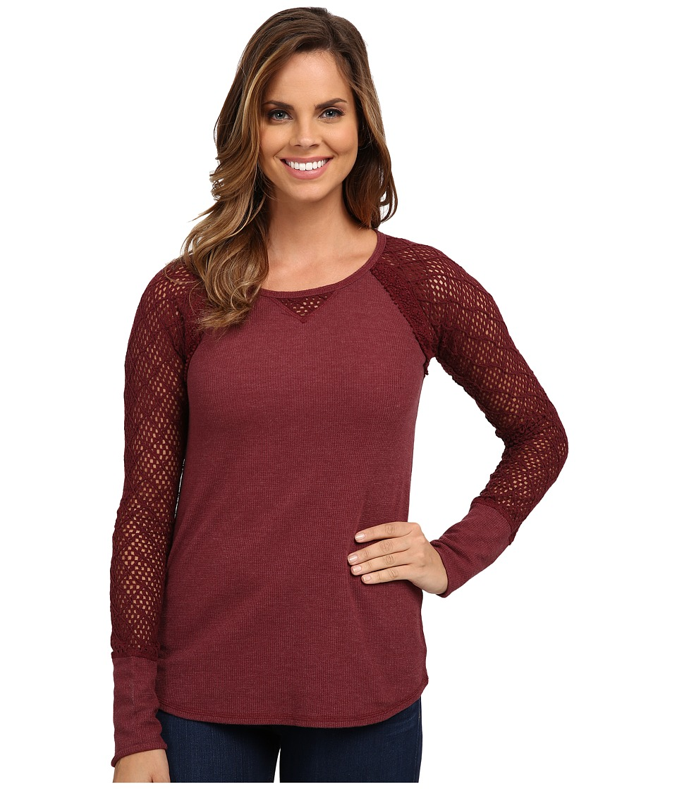 Lucky Brand - Lace Raglan Thermal (Rich Dark Red) Women