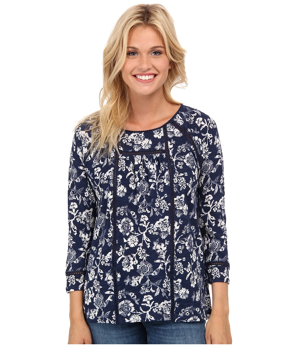 Lucky Brand - Omala Floral Top (Blue Multi) Women's Blouse
