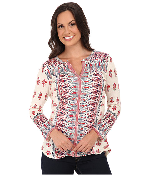 Lucky Brand - Woodblock Border Top (Red Multi) Women