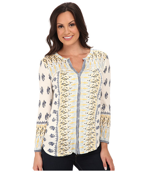 Lucky Brand - Woodblock Border Top (Blue Multi) Women's Clothing