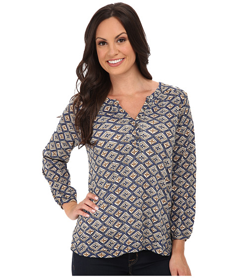 Lucky Brand - Diamond Woodblock Top (Blue Multi) Women's Clothing