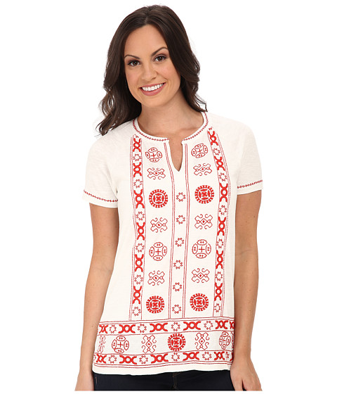 Lucky Brand - Circle Embroidery Top (Marshmallow) Women
