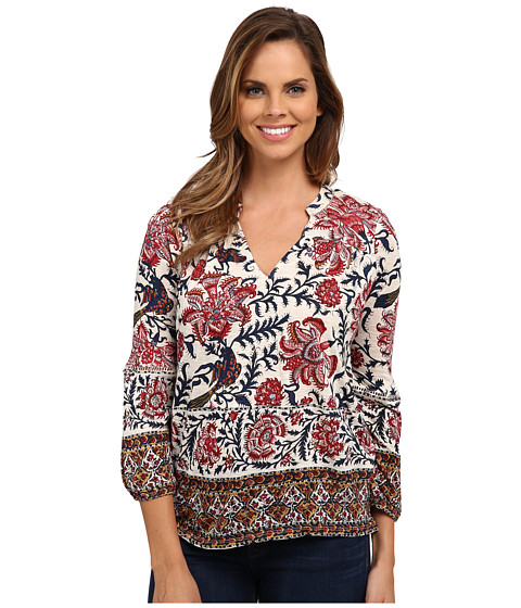 Lucky Brand - Bordered Scarf Top (Red Multi) Women
