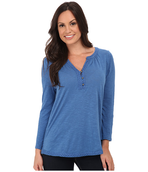 Lucky Brand - Mixed Trim Top (Medium Blue) Women's Clothing