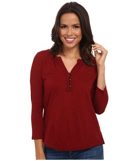 Lucky Brand - Mixed Trim Top (Rich Dark Red) Women's Clothing
